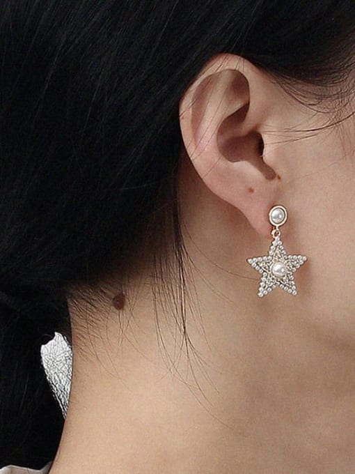 HYACINTH Brass Cubic Zirconia Star Vintage Stud Earring 1