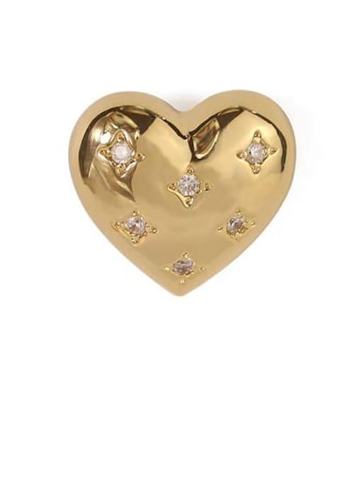 ACCA Brass Rhinestone Heart Minimalist Stud Earring 3