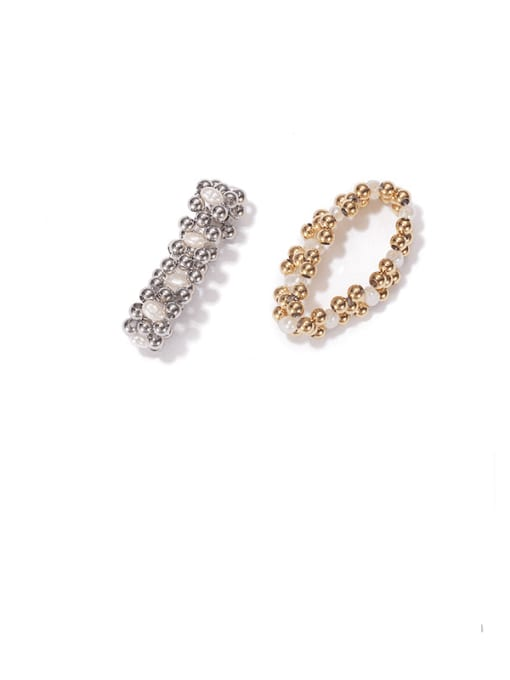 ACCA Brass Imitation Pearl Geometric Vintage Stackable Ring 3