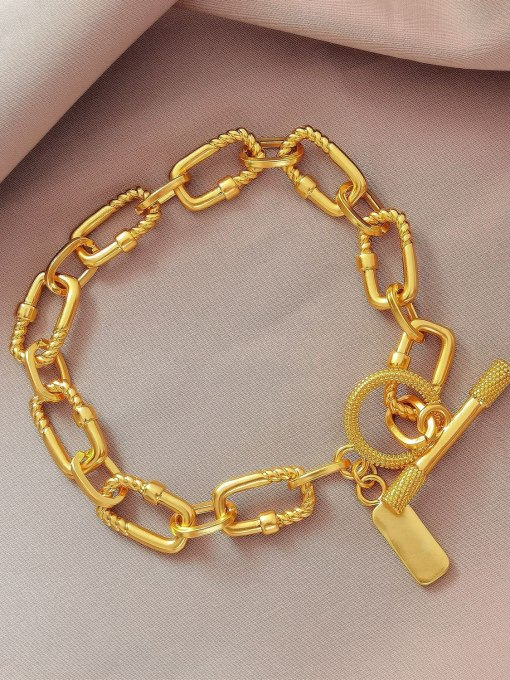 18K Gold Brass Hollow Geometric  China Vintage Link Bracelet