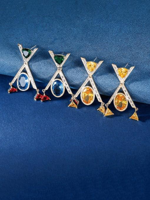 OUOU Brass Cubic Zirconia Geometric Minimalist Drop Earring 2