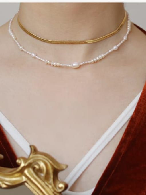 ACCA Brass Freshwater Pearl Geometric Minimalist Necklace 1