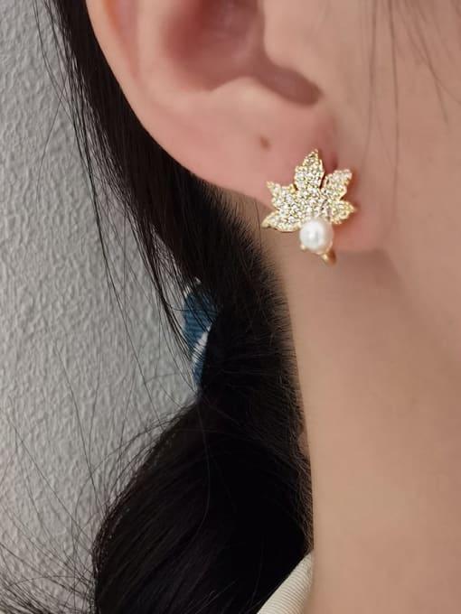 HYACINTH Brass Cubic Zirconia Leaf Minimalist Stud Earring 1