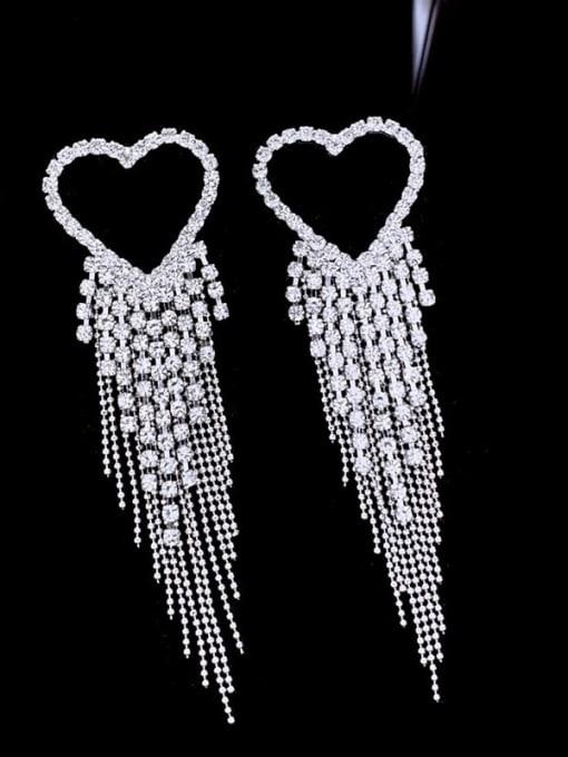 SUUTO Brass Cubic Zirconia Heart tassel Luxury Drop Earring