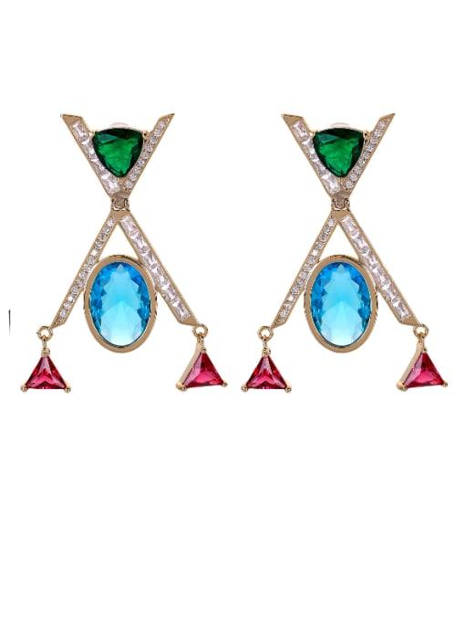 OUOU Brass Cubic Zirconia Geometric Minimalist Drop Earring 4