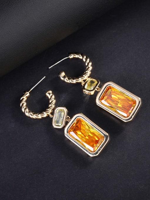 OUOU Brass Cubic Zirconia Geometric Luxury Hook Earring 2