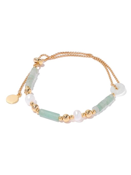 TINGS Brass Jade Geometric Hip Hop Strand Bracelet 3