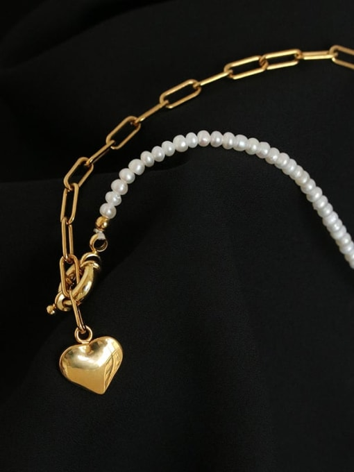 Five Color Brass Imitation Pearl Heart Minimalist Lariat Necklace 2
