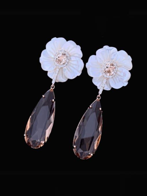 SUUTO Brass Cubic Zirconia Water Drop Luxury Drop Earring 0