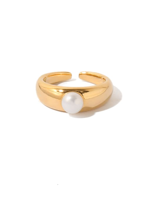 Gold (non adjustable) Brass Imitation Pearl Geometric Vintage Band Ring