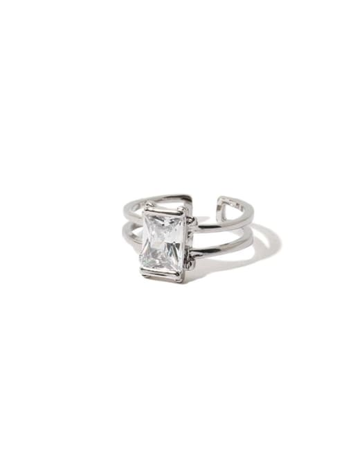Square  (adjustable) Brass Cubic Zirconia Geometric Vintage Band Ring