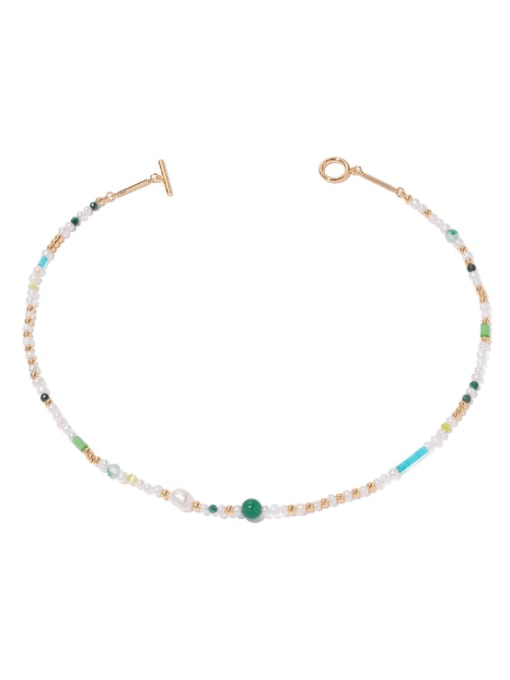 TINGS Brass Freshwater Pearl Geometric Hip Hop Necklace
