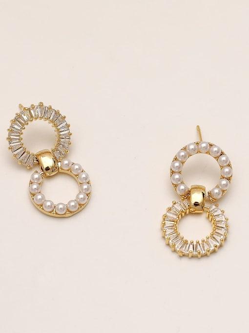 14k Gold Brass Imitation Pearl Geometric Vintage Drop Earring