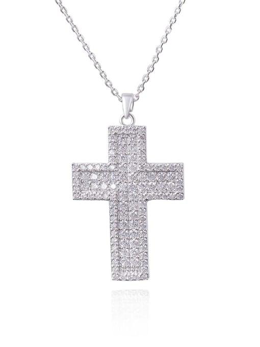 white Brass Cubic Zirconia Cross Minimalist Regligious Necklace