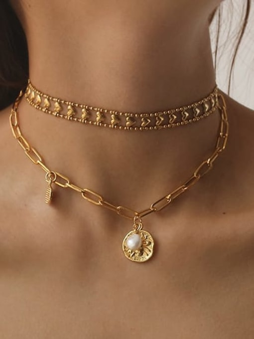 ACCA Brass Geometric Vintage Hollow Chain Necklace 1