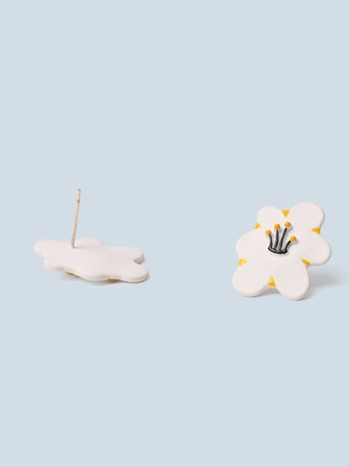 Five Color Alloy Enamel Flower Minimalist Stud Earring 2