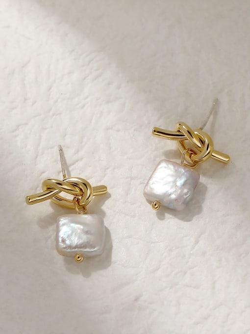 HYACINTH Brass Freshwater Pearl Geometric Vintage Drop Trend Korean Fashion Earring 2