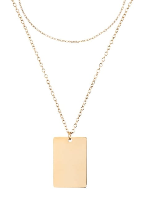 golden Stainless steel Minimalist  Geometric Pendant Multi Strand Necklace