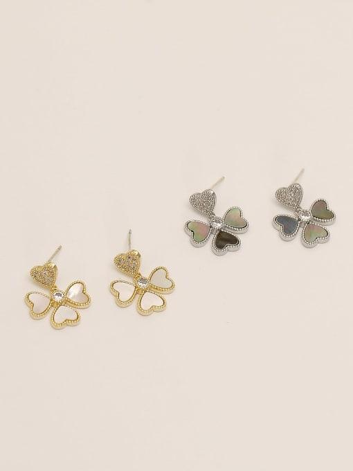 HYACINTH Brass Shell Flower Minimalist Stud Earring 0