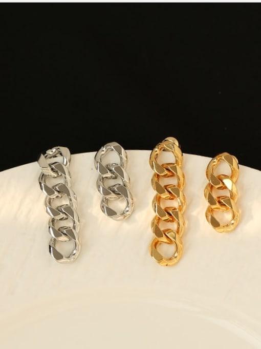ACCA Brass Hollow Geometric Chain Asymmetry Minimalist Drop Earring 2