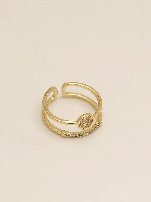14k Gold Brass Cubic Zirconia Geometric Vintage Band Ring