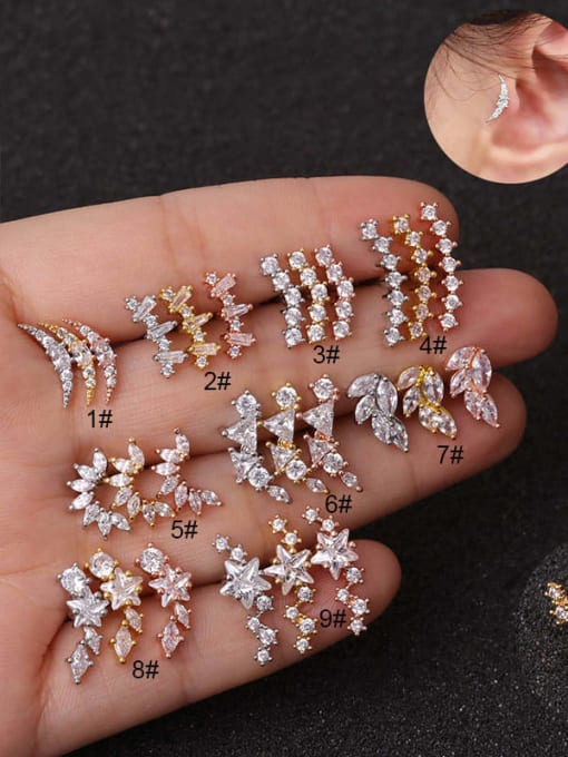 HISON Copper with Cubic Zirconia White Star Dainty Stud Earring(Single)