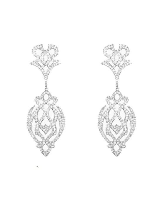 steel long cut flower Brass Cubic Zirconia Flower Hip Hop Drop Earring