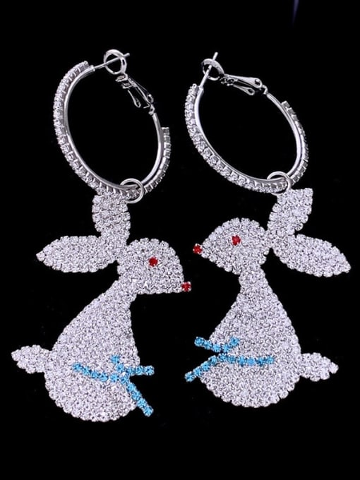 SUUTO Brass Cubic Zirconia Rabbit Luxury Cluster Earring 0