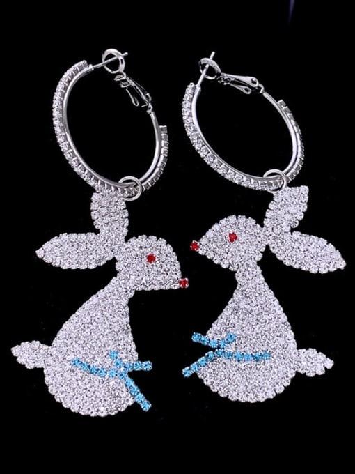 SUUTO Brass Cubic Zirconia Rabbit Luxury Cluster Earring