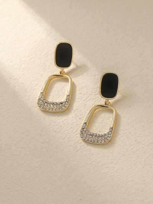 HYACINTH Brass Rhinestone Enamel Geometric Vintage Drop Trend Korean Fashion Earring 0