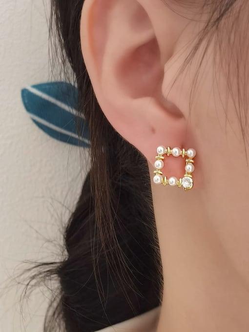 HYACINTH Brass Imitation Pearl Geometric Vintage Clip Earring 1