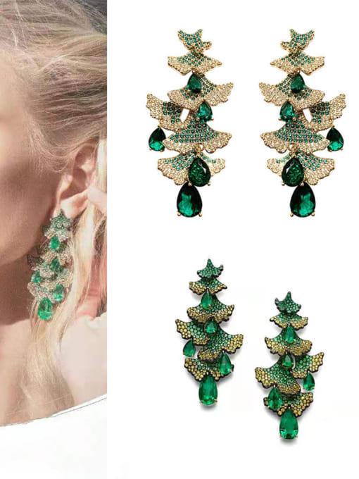 OUOU Brass Cubic Zirconia Christmas Tree  Luxury Drop Earring 1