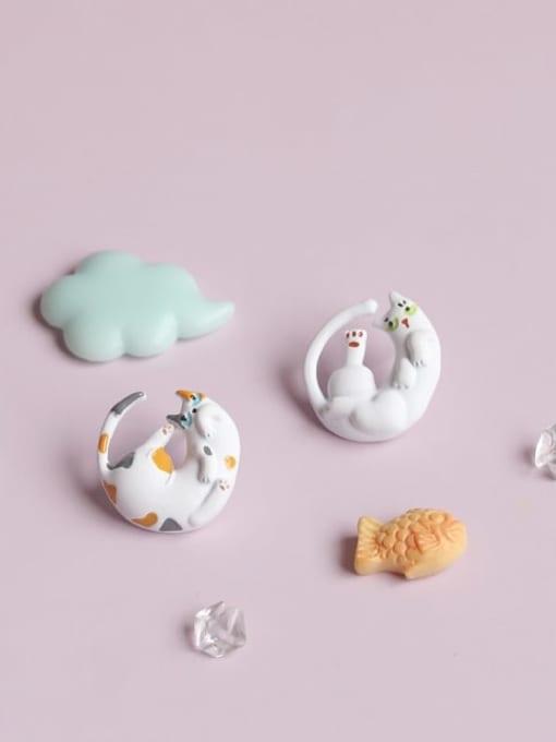 Five Color Alloy White Enamel Cat Cute Stud Earring 0