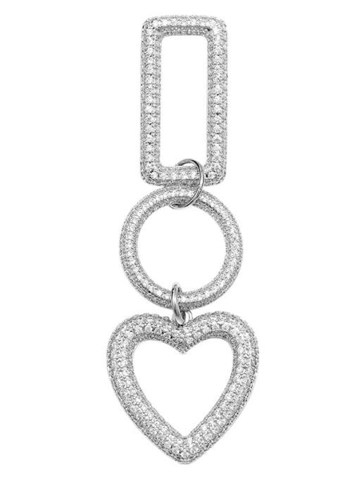 OUOU Brass Cubic Zirconia Heart Statement Drop Earring 2
