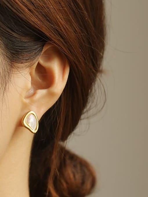 ACCA Brass Shell Geometric Minimalist Stud Earring 1