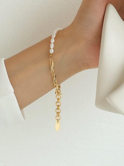 Five Color Brass Imitation Pearl Geometric Hip Hop Link Bracelet 1