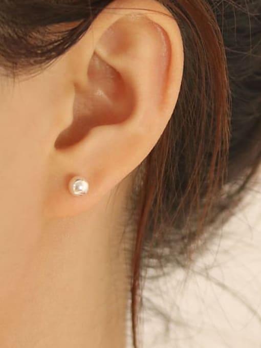 TINGS 925 Sterling Silver Bead Geometric Minimalist Stud Earring 3