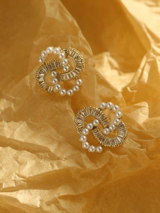 HYACINTH Brass Cubic Zirconia Irregular Vintage Stud Earring 0