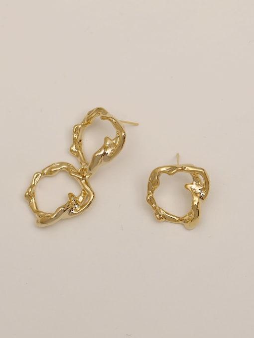 HYACINTH Brass Hollow Geometric Vintage Drop Earring 2
