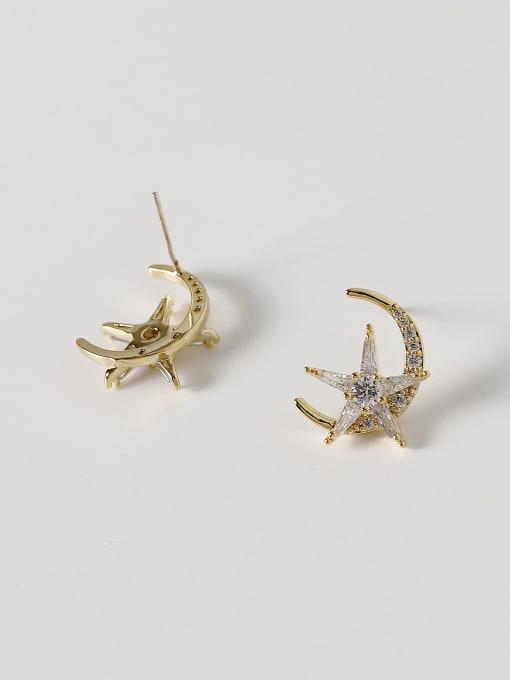 HYACINTH Brass Cubic Zirconia Moon Minimalist Stud Earring 2