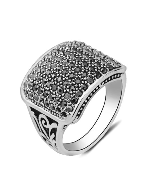 black Alloy Cubic Zirconia Geometric Vintage Band Ring
