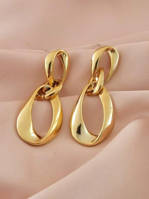 14k gold Brass Hollow Water Drop Minimalist Drop Earring