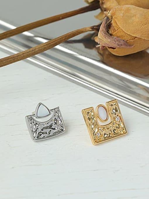 ACCA Brass Shell Geometric Hip Hop Stud Earring 2