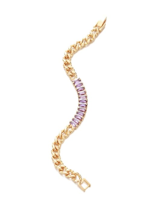 Five Color Brass Cubic Zirconia Geometric Vintage Link Bracelet 4