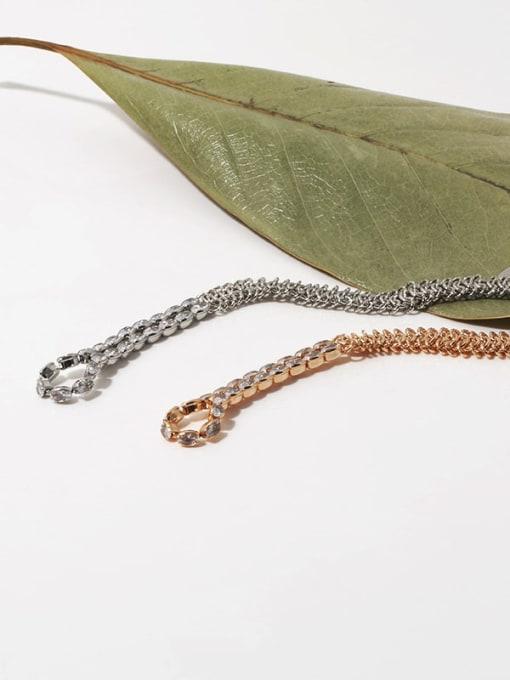 TINGS Brass Cubic Zirconia Geometric Vintage Link Bracelet 2