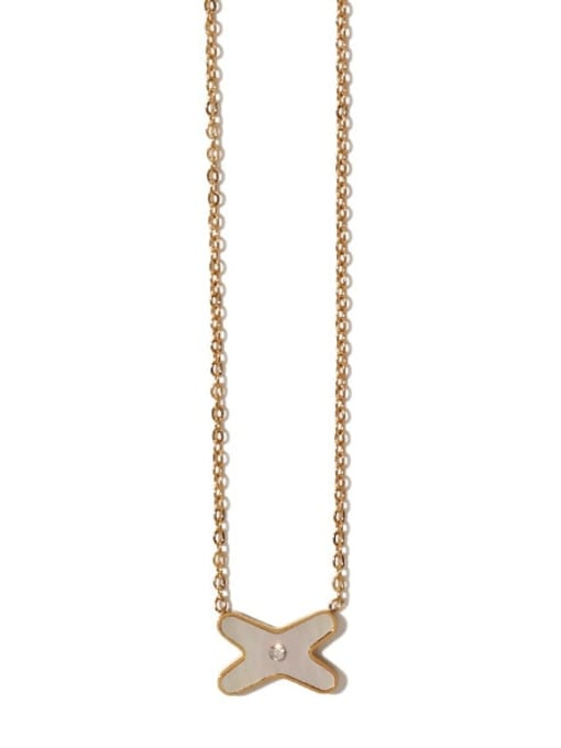 ACCA Brass Shell Cross Vintage Necklace 1