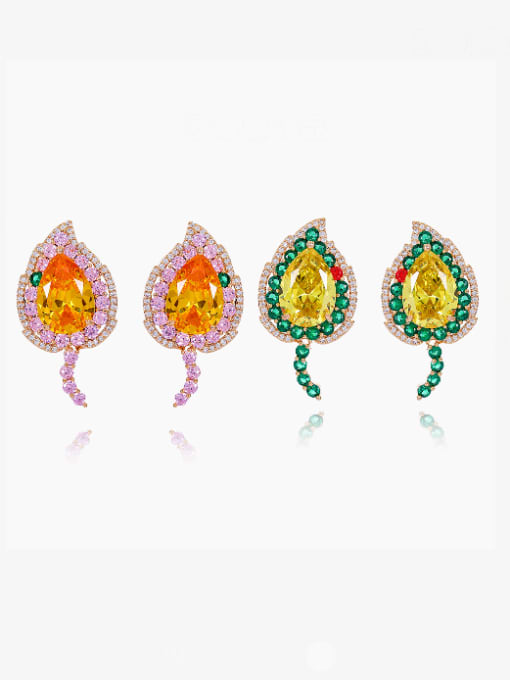 OUOU Brass Cubic Zirconia Heart Luxury Stud Earring 0