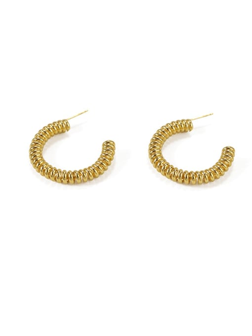 Item 4 Brass  Geometric Vintage  C shape Hoop Earring
