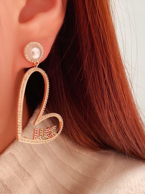 OUOU Brass Cubic Zirconia Heart Minimalist Drop Earring 2