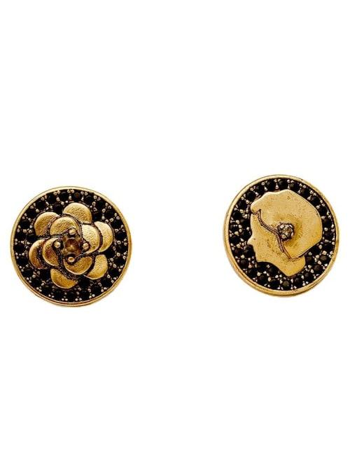 HYACINTH Brass Asymmetrical Flower Vintage Stud Earring